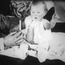 black and white photo of a baby, presumably Little Albert